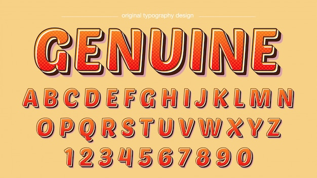Typographie bold orange rouge cartoon