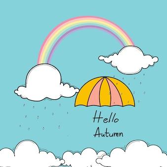 Typographie bonjour automne avec parapluie et arc-en-ciel