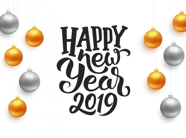 Typographie de bonne année 2019 sur carte de vecteur