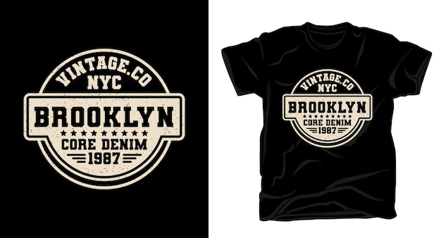 Typographie de brooklyn core denim pour la conception de t-shirts