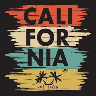 Typographie californienne pour vêtements design, t-shirts. palmier, soleil. graphiques pour le produit d'impression. illustration vectorielle.