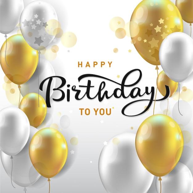 Typographie de célébration de joyeux anniversaire avec des ballons réalistes et des confettis tombant.