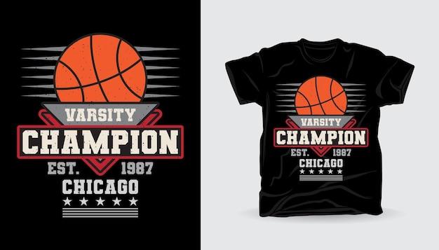 Typographie de champion universitaire avec motif imprimé de t-shirt de basket-ball
