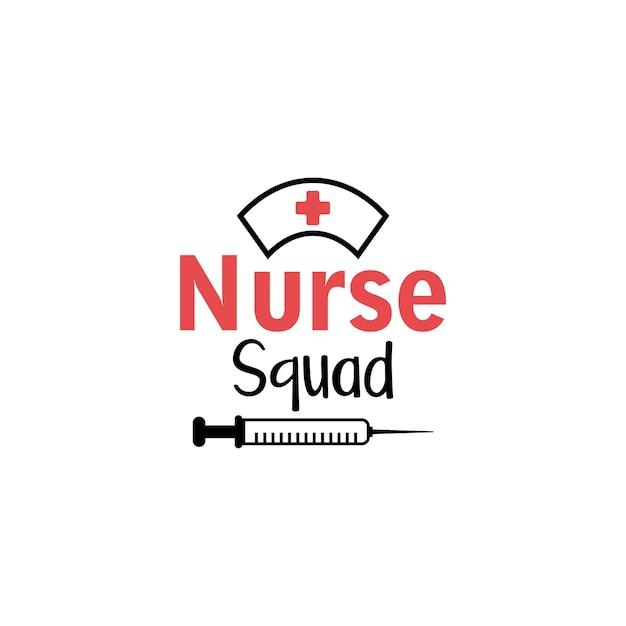 Typographie de citation de lettrage d'infirmière. escouade d'infirmières