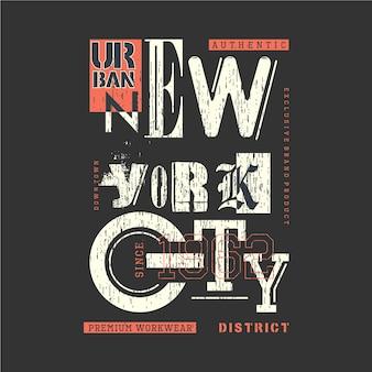 Typographie de conception de t-shirt graphique du district urbain de new york