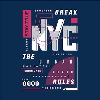 Typographie de conception de t-shirt de marque urbaine de nyc