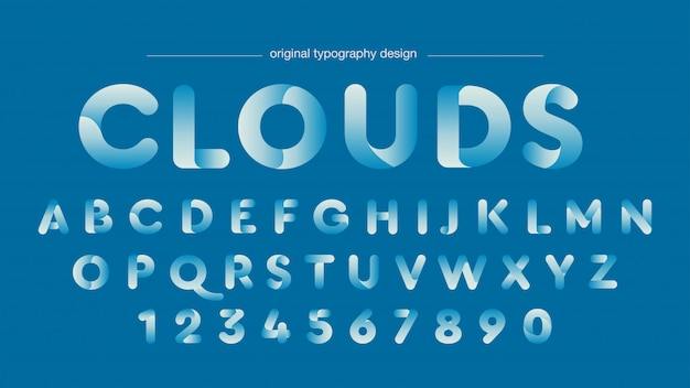 Typographie des courbes bleues abstraites