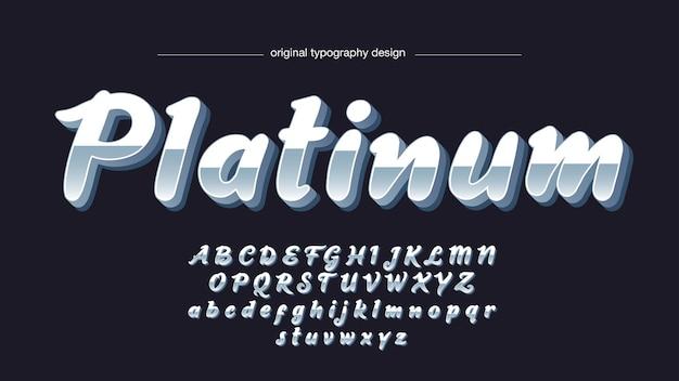 Typographie cursive en chrome métallique