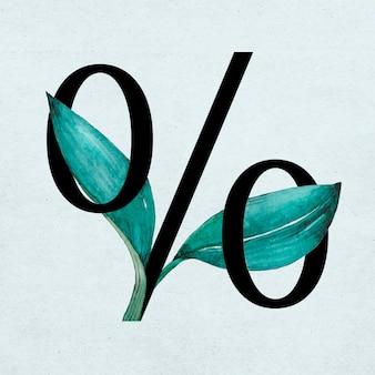 Typographie décorée vintage floral de signe de pourcentage