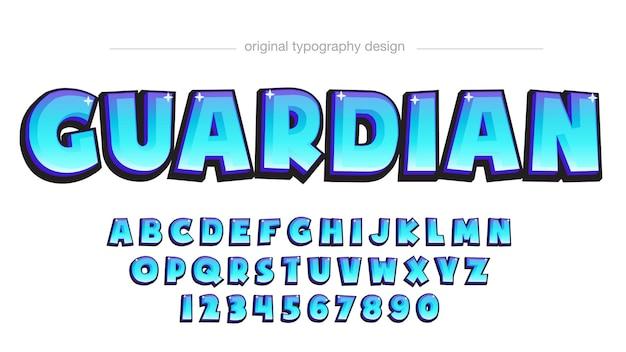 Typographie de dessin animé 3d bleu néon