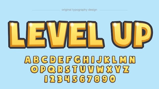 Typographie de dessin animé 3d jaune