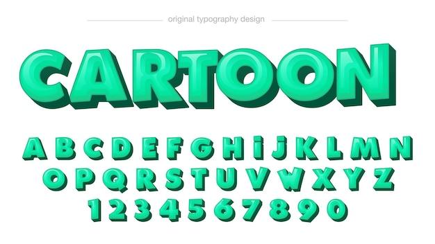 Typographie de dessin animé arrondi 3d vert