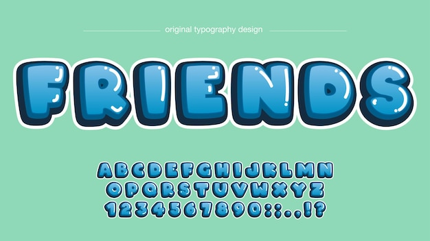 Typographie de dessin animé arrondi bleu