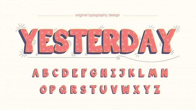 Typographie de dessin animé arrondi mignon avec motif