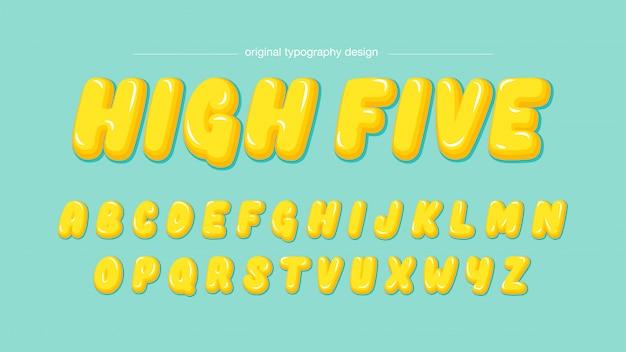 Typographie de dessin animé bulle jaune