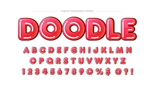 Typographie de dessin animé bulle rouge arrondi