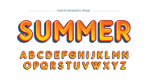 Typographie de dessin animé orange arrondie
