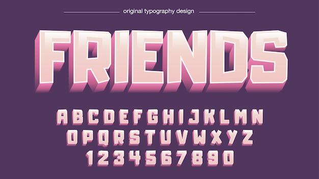 Typographie de dessin animé rose violet