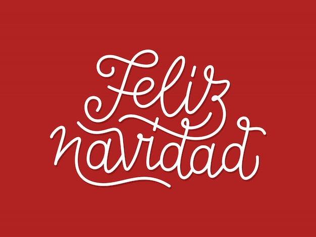 Typographie de dessin au trait calligraphique de feliz navidad