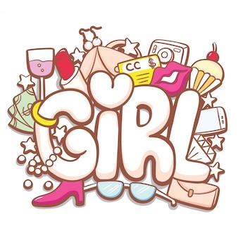 Typographie dessiné main fille avec doodle mignon