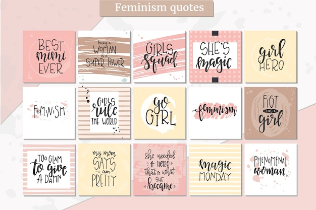 Typographie dessinée à la main de féminisme. expression manuscrite conceptuelle. conception calligraphique à la main.
