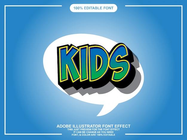 Typographie éditable illustrator de style graphique pour enfants