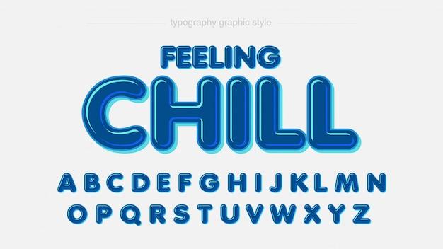 Typographie effet rond arrondi bleu