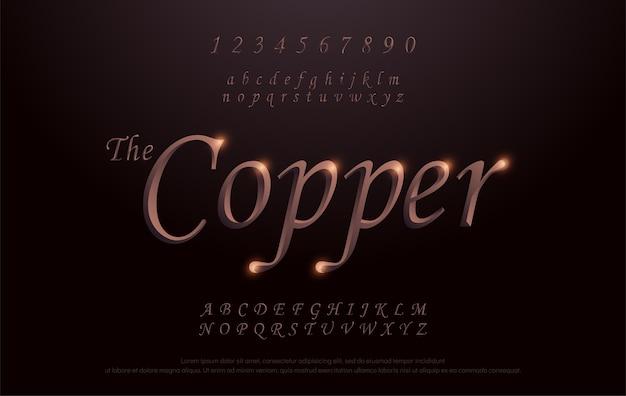 Typographie elegant copper metal chrome fonte alphabet