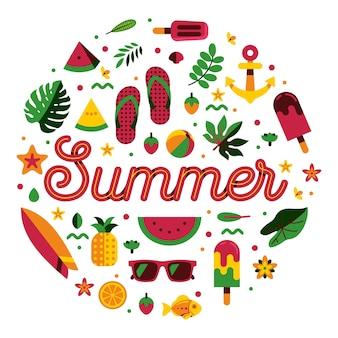 Typographie de l'été avec icône modèle été