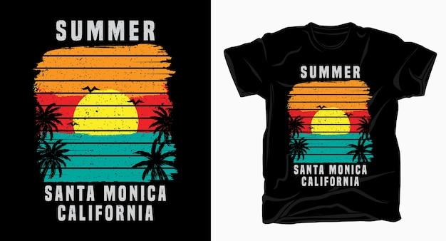 Typographie de l'été santa monica californie avec coucher de soleil et palm t-shirt