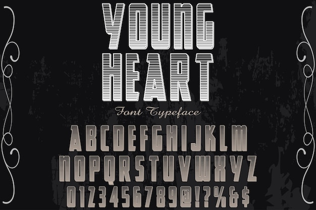 Typographie étiquette design jeune coeur