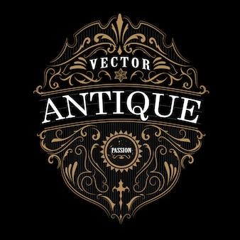 Typographie d'étiquette vintage bordure de cadre antique