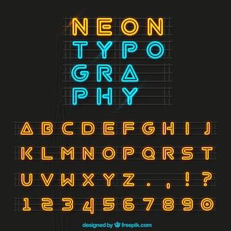 Typographie fantastique fait avec des lumières au néon