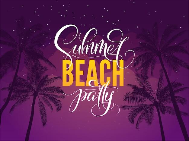 Typographie de fête d'été sur la plage