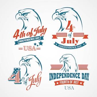 Typographie de la fête de l'indépendance et un aigle.