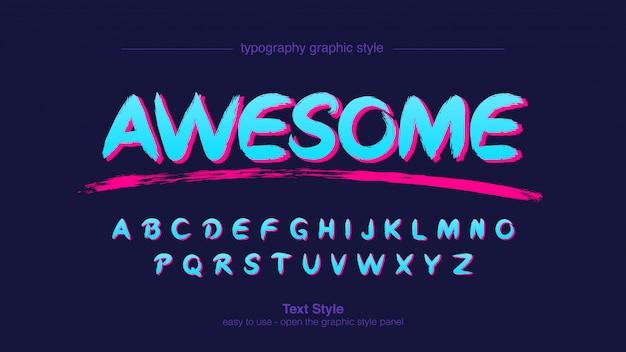 Typographie graffiti artistique bleu néon