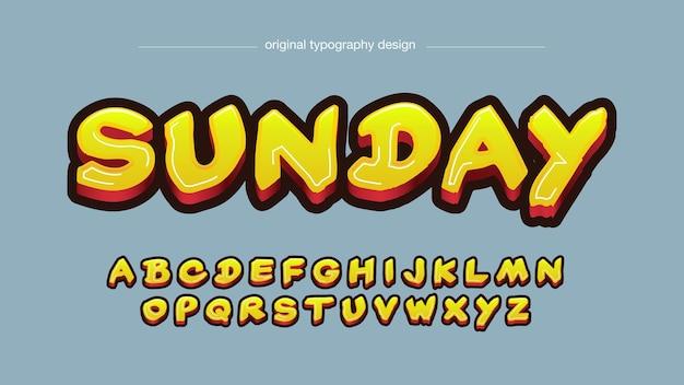 Typographie graffiti pinceau jaune gras