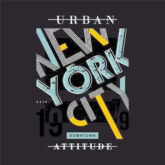 Typographie graphique de cadre de texte d'attitude urbaine de new york city pour t-shirt