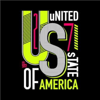 Typographie graphique des etats unis avec dessin abstrait de ligne pour t-shirt prêt à imprimer