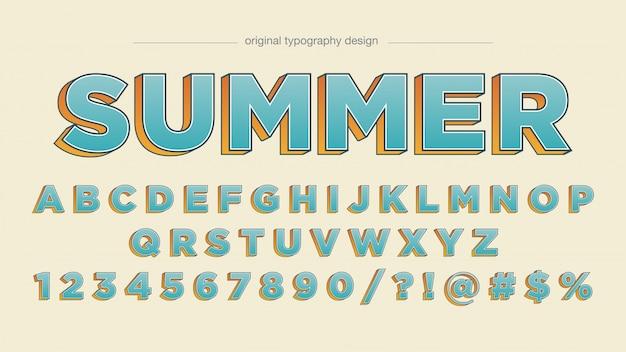 Typographie en gras bleu orange