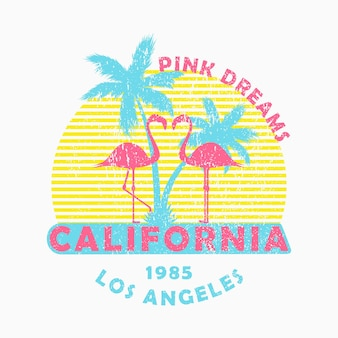 Typographie grunge de californie à los angeles pour un t-shirt de vêtements de conception avec des flamants roses et des palmiers