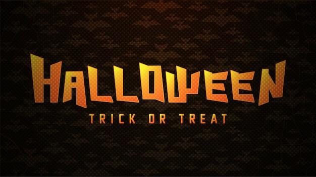Typographie halloween avec des chauves-souris sur fond abstrait