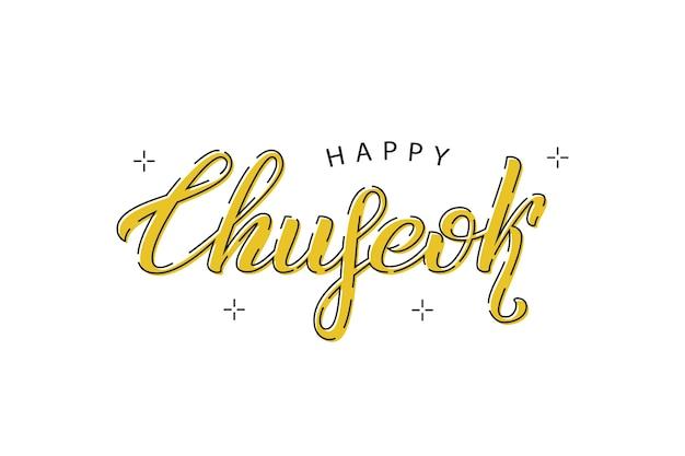 Typographie de happy chuseok avec dessin au trait fin, carte de voeux