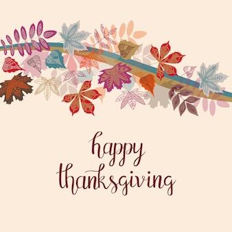 Typographie de happy thanksgiving automne dessinés à la main avec de jolies feuilles colorées dans un style plat