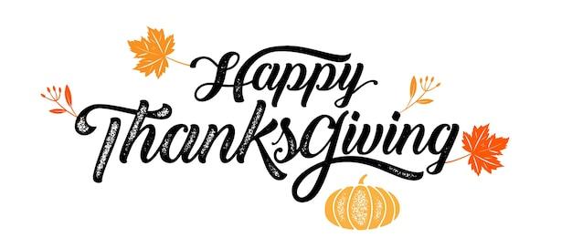 Typographie happy thanksgiving, badge. calligraphie vectorielle