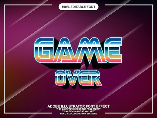 Typographie de jeu classique de style graphique illustrateur modifiable
