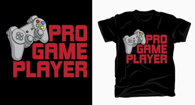 Typographie de joueur de jeu pro avec t-shirt contrôleur