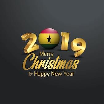 Typographie joyeux noël du drapeau du ghana 2019