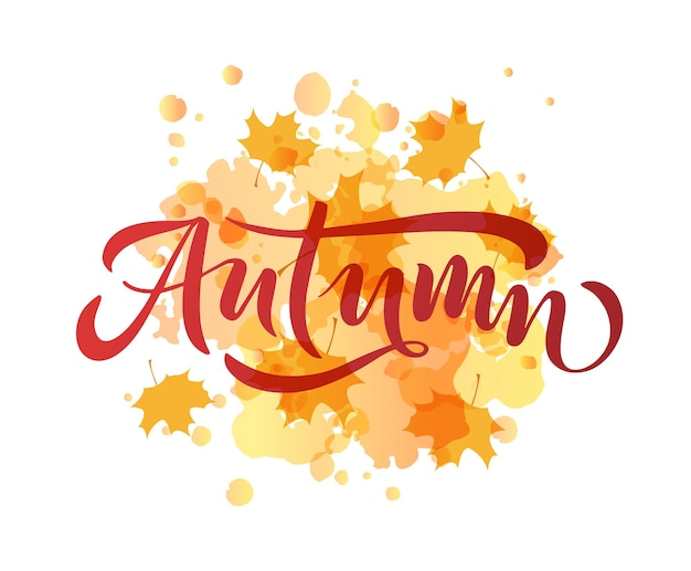Typographie de lettrage d'automne calligraphie d'automne moderne illustration vectorielle sur fond texturé