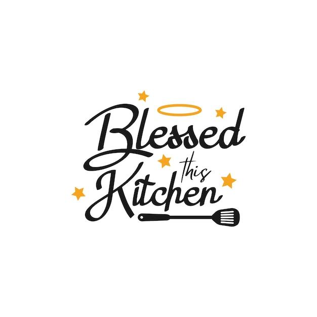 Typographie de lettrage de citation de cuisine. béni cette cuisine